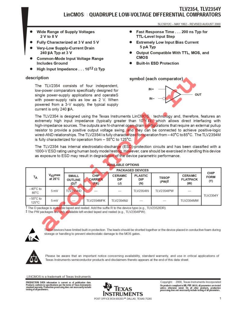 TLV2354INE4 datasheet