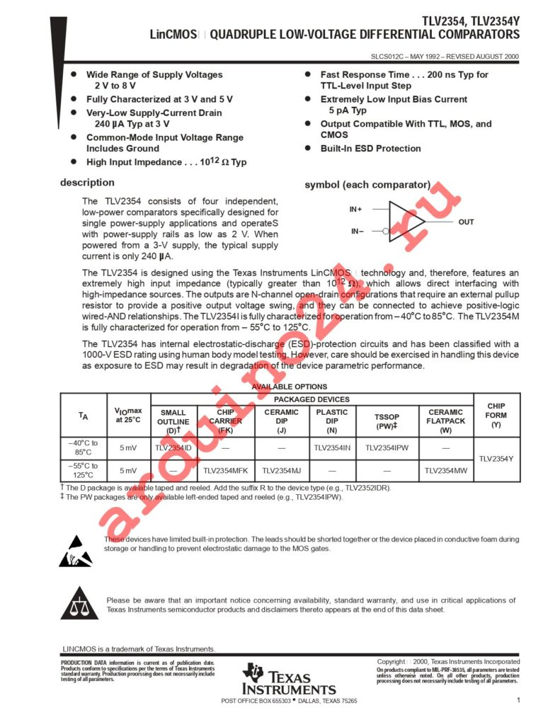 TLV2354IPWG4 datasheet