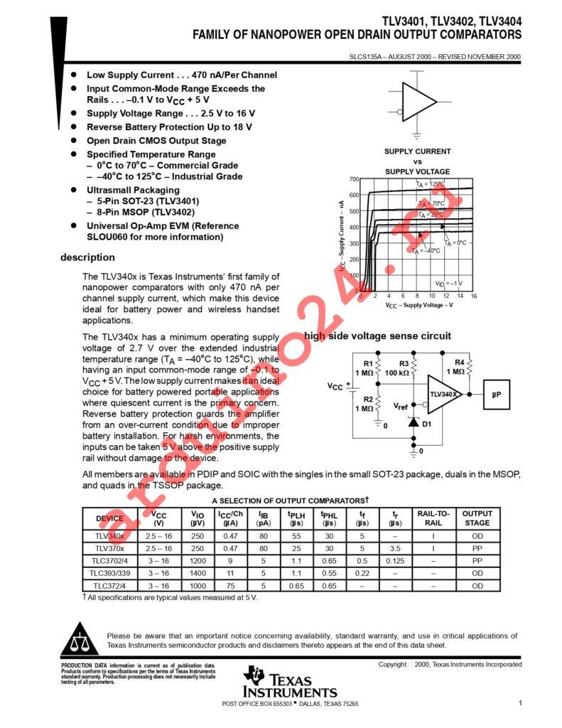 TLV3404INE4 datasheet
