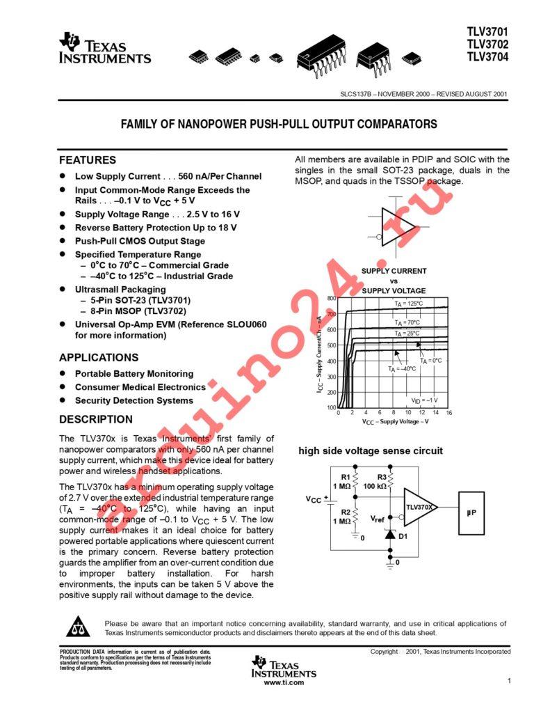 TLV3704INE4 datasheet