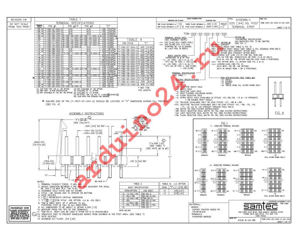 TSW-118-26-L-D datasheet