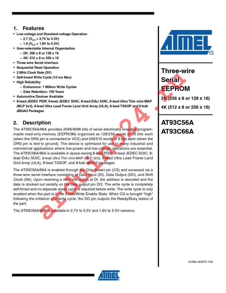 AT93C66A-10TU-1.8 datasheet