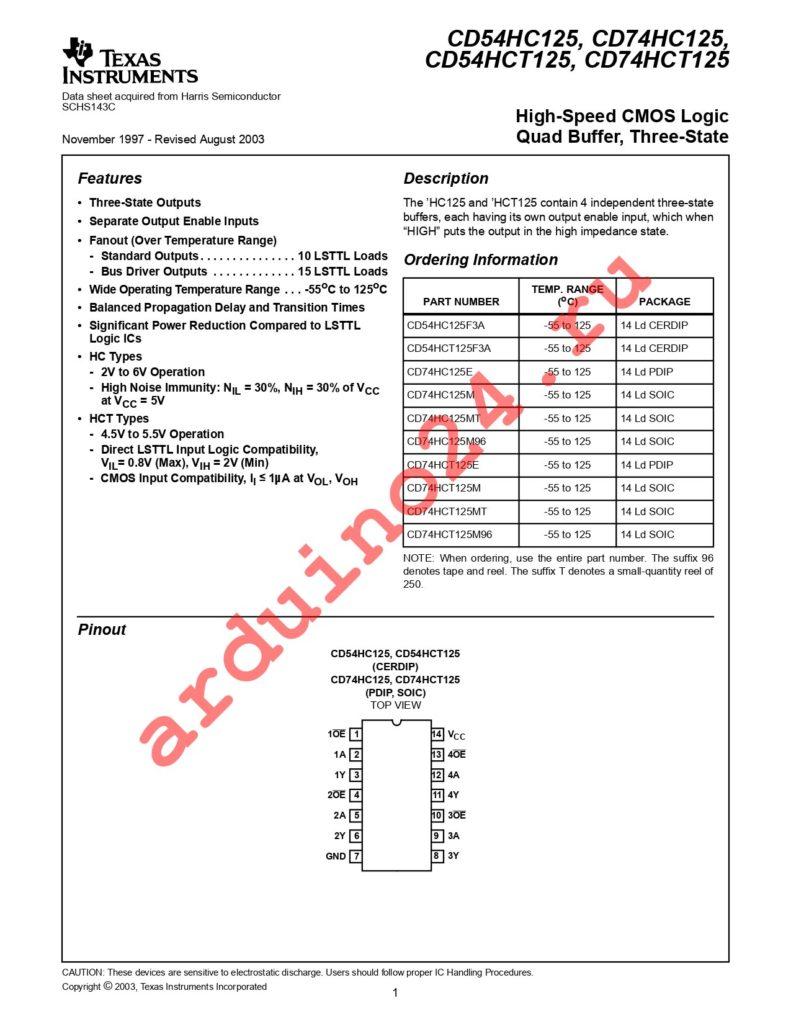 CD74HC125MT datasheet