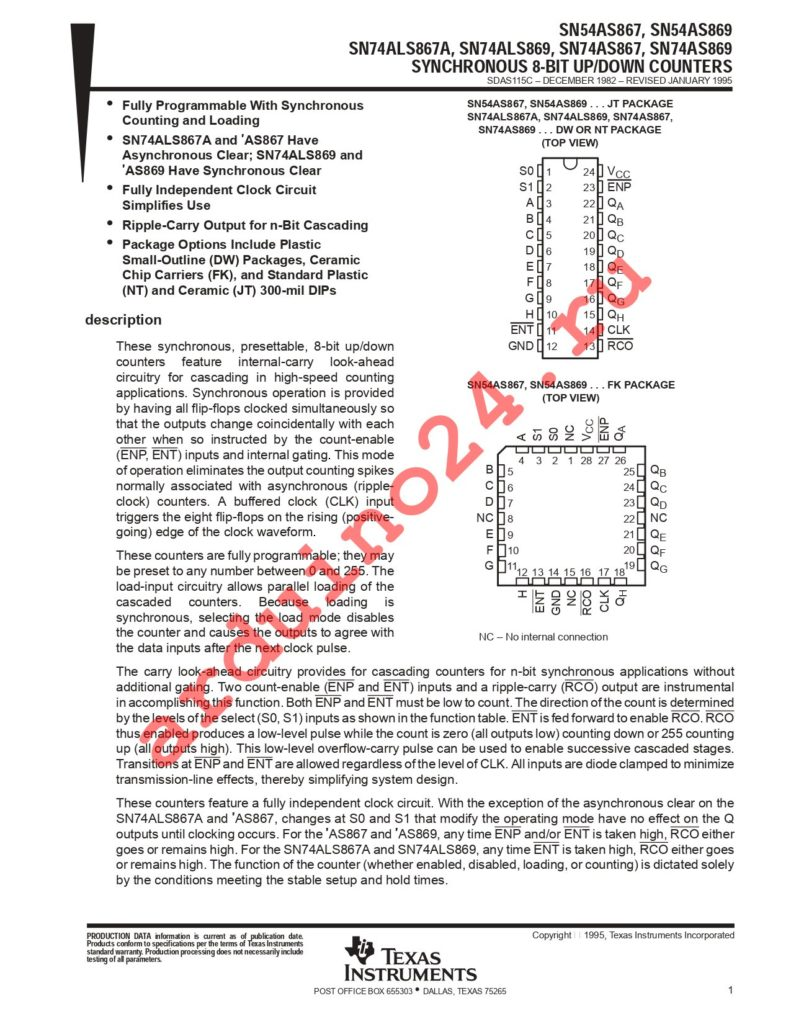 SN74ALS867ADWG4 datasheet