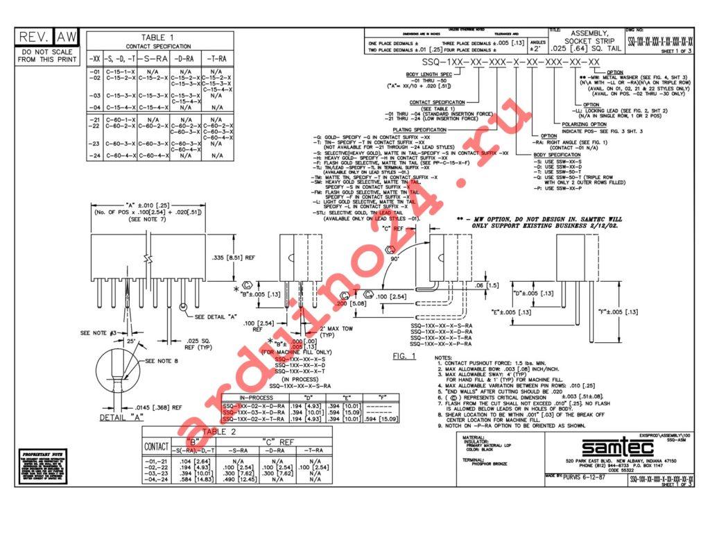 SSQ-111-01-T-S datasheet