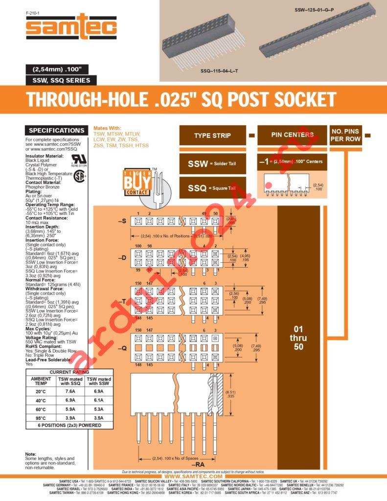 SSW-107-01-S-S datasheet