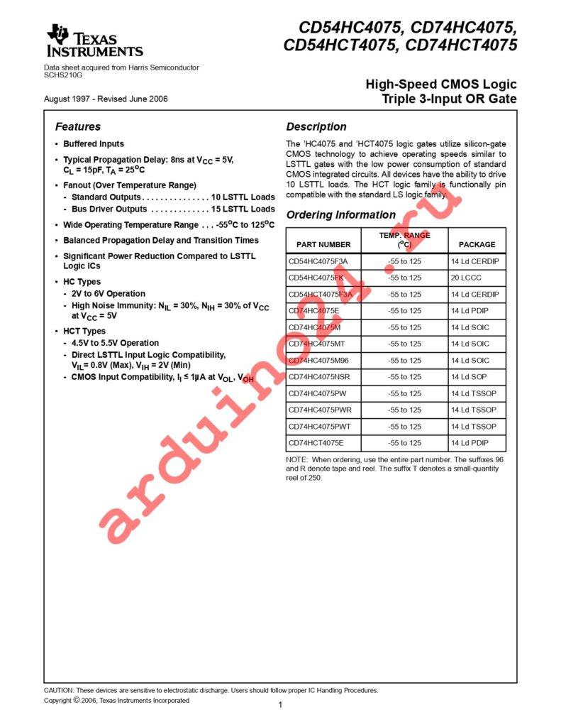 CD74HC4075PWTE4 datasheet
