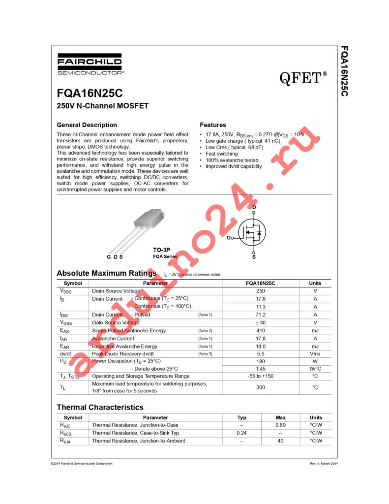 FQA16N25C datasheet