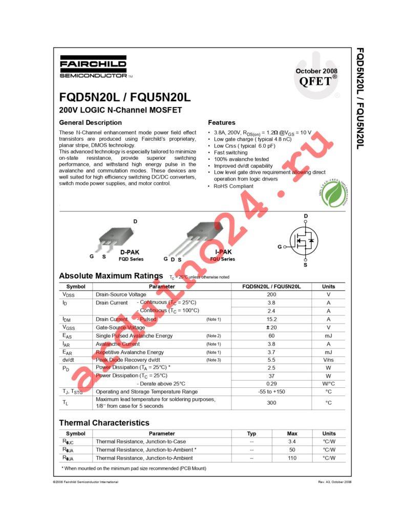 FQD5N20LTM datasheet