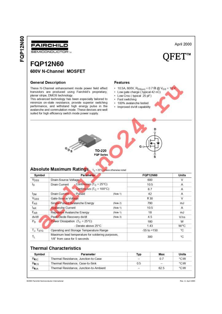FQP12N60 datasheet
