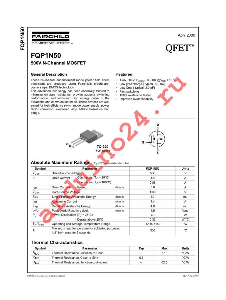 FQP1N50 datasheet