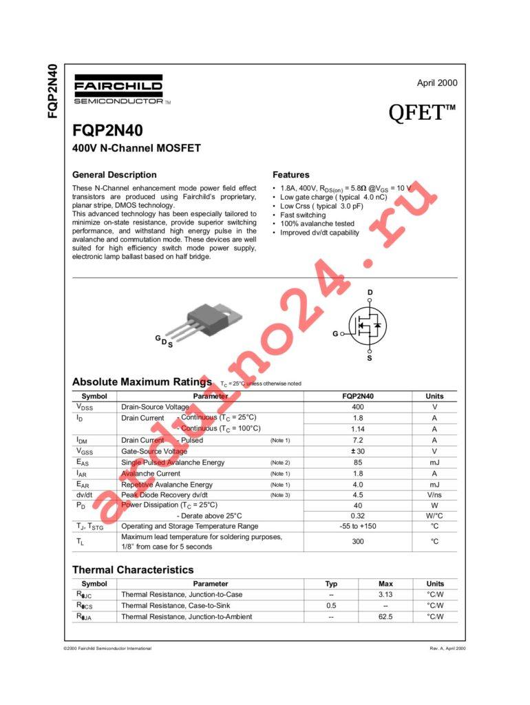 FQP2N40 datasheet