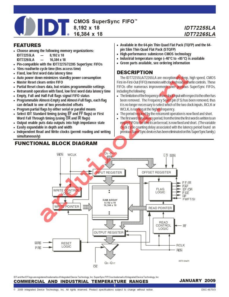 IDT72265LA20PFI8 datasheet