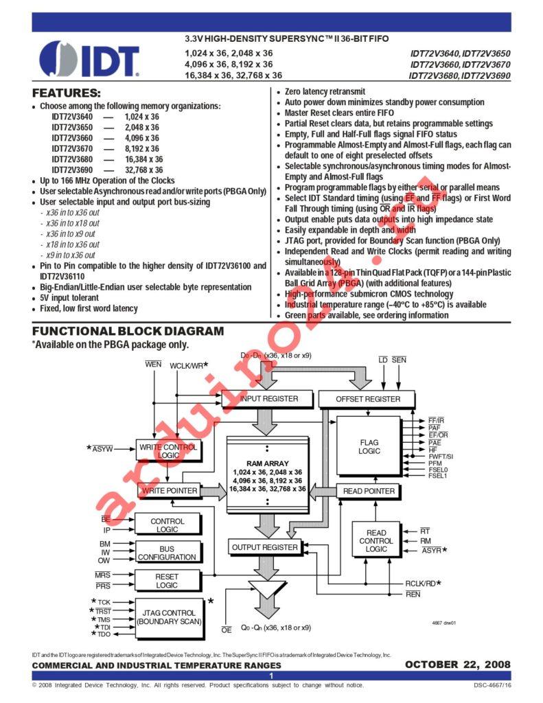 IDT72V3640L7-5PFI datasheet