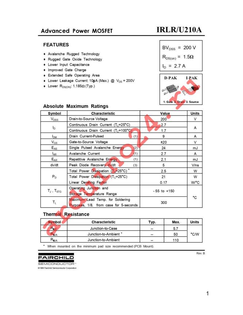 IRLR210ATM datasheet