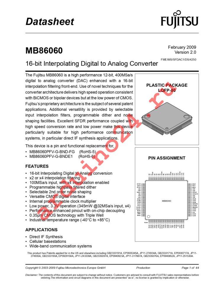 MB86060PMCR-G-BNDE1 datasheet