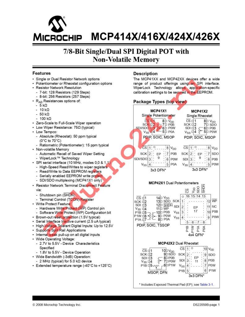 MCP4261-503E/SL datasheet