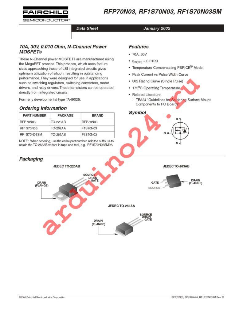 RFP70N03 datasheet