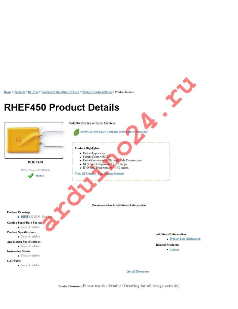 RHEF450 datasheet