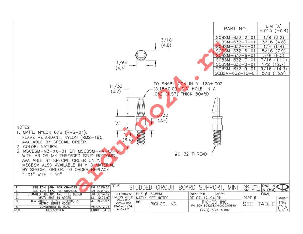 SCBSM-632-6-01 datasheet