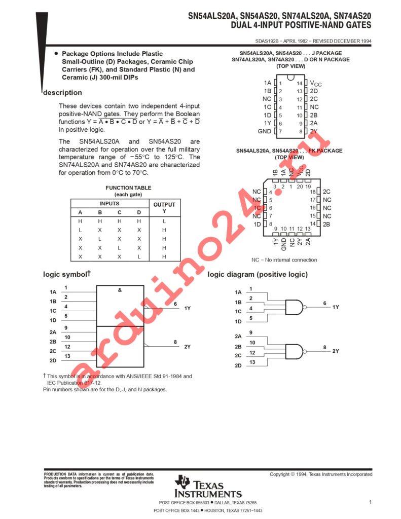SN74ALS20ANSRE4 datasheet