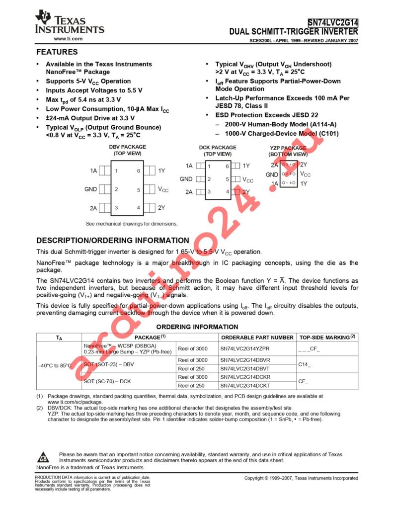 SN74LVC2G14DBVTG4 datasheet