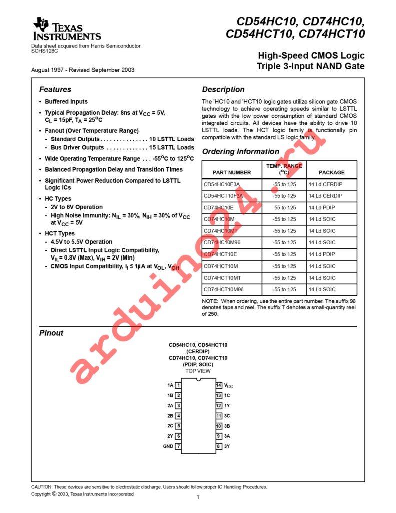 CD74HCT10M96G4 datasheet