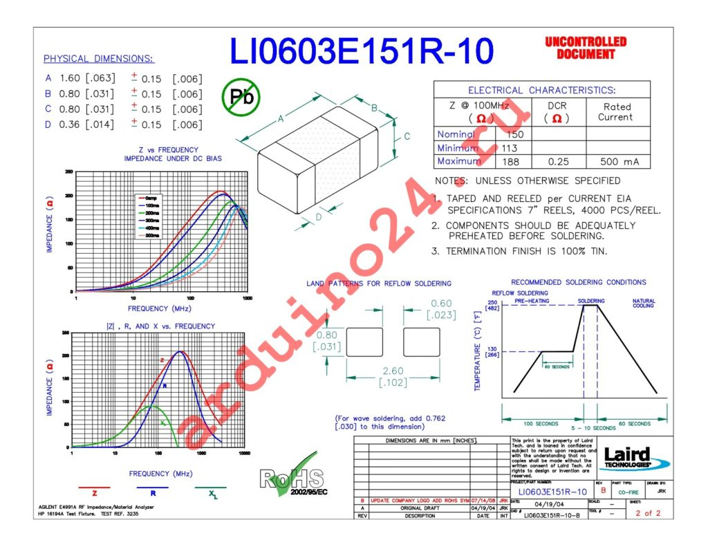 LI0603E151R-10 datasheet