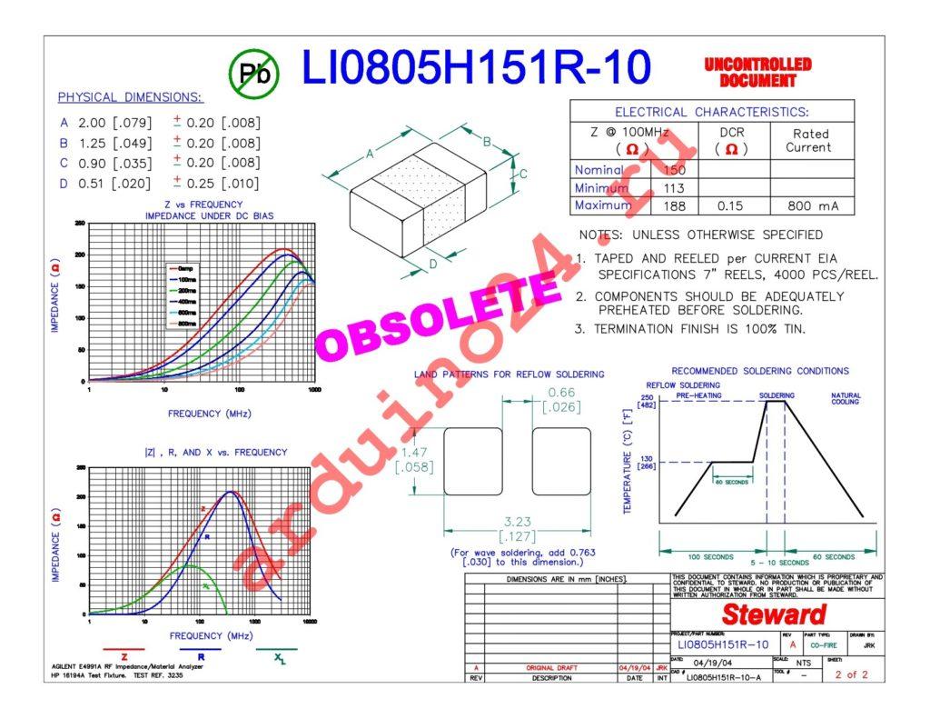 LI0805H151R-10 datasheet