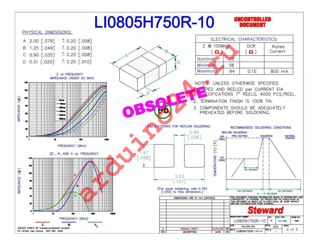 LI0805H750R-10 datasheet