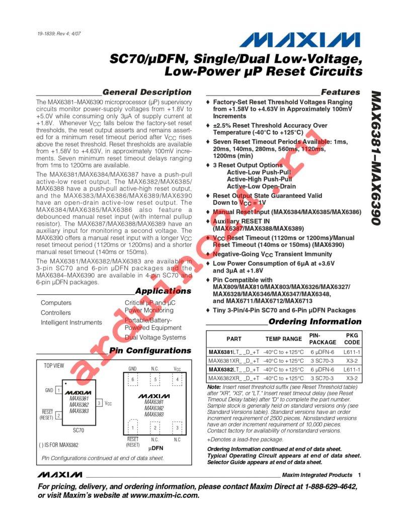 MAX6381LT45D7+T datasheet