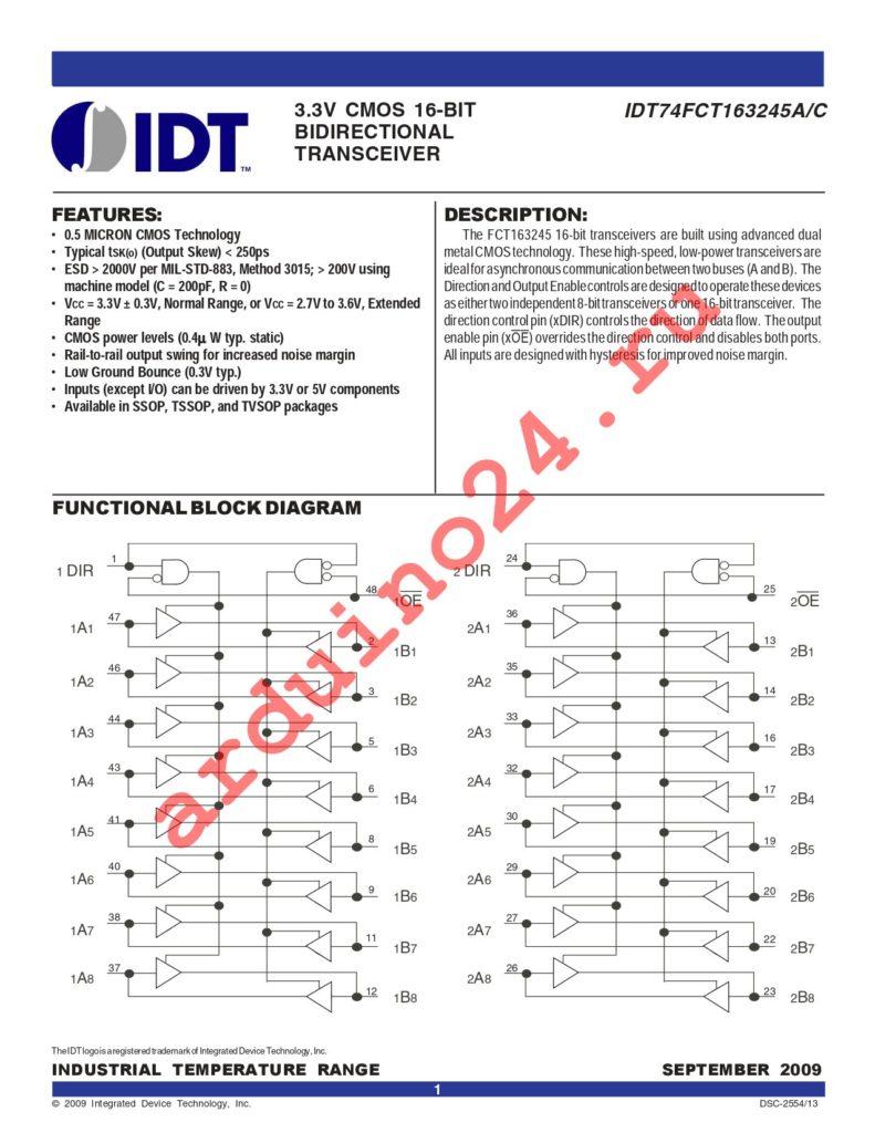 IDT74FCT163245CPVG8 datasheet